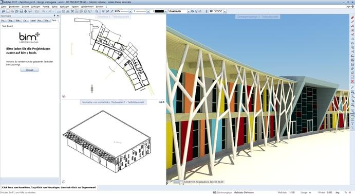 """In Kombination mit der offenen BIM-Plattform """"bim+"""" unterstützt """"Allplan 2017"""" die disziplin-übergreifende Zusammenarbeit aller Projektbeteiligten im Sinne von Building Information Modeling (BIM), hier zu sehen am Beispiel der Grundschule in Borgo Valsugana"""