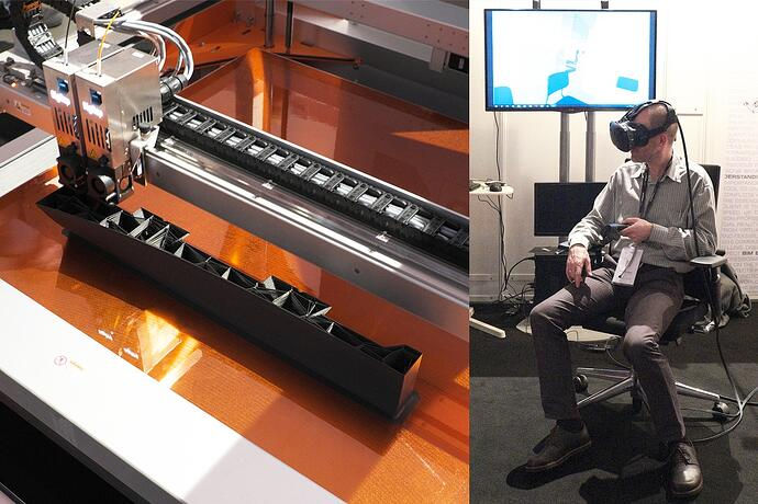 3D-Drucker (Fa. BigRep) beim Drucken von Schalungsteilen, Augmented Reality (YUAR)