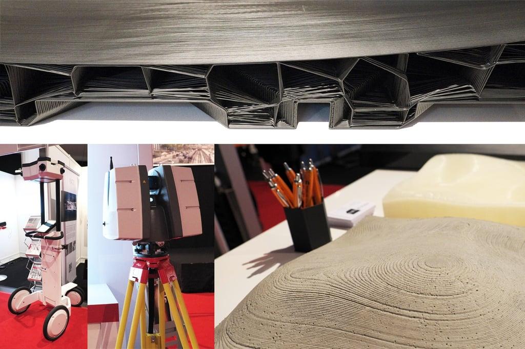 Laserscanner Fa. Naavis (li) und Leica (re), Schalungselement (o) und Betonmodell aus dem 3D-Drucker (Fa. BigRep)