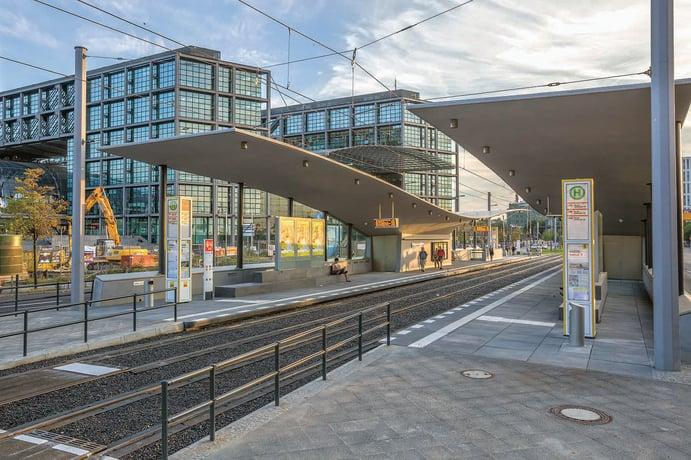 Tramhaltestelle am Hauptbahnhof Berlin