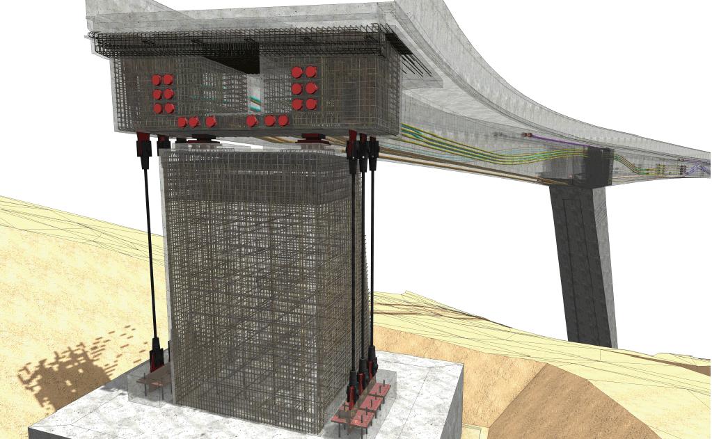 Verankerung der Vorspannkabel mit Bewehrung Brückenbau
